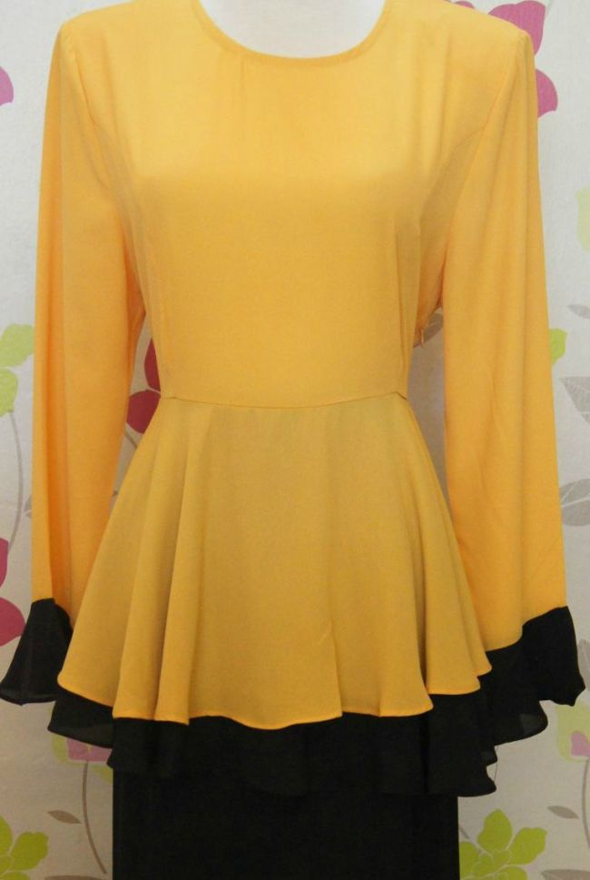 Baju Kurung Peplum Color Blocking Mustard+black
