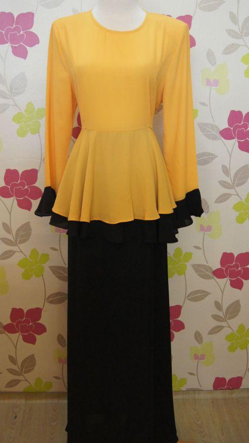 Baju Kurung Peplum Color Blocking Mustard+black