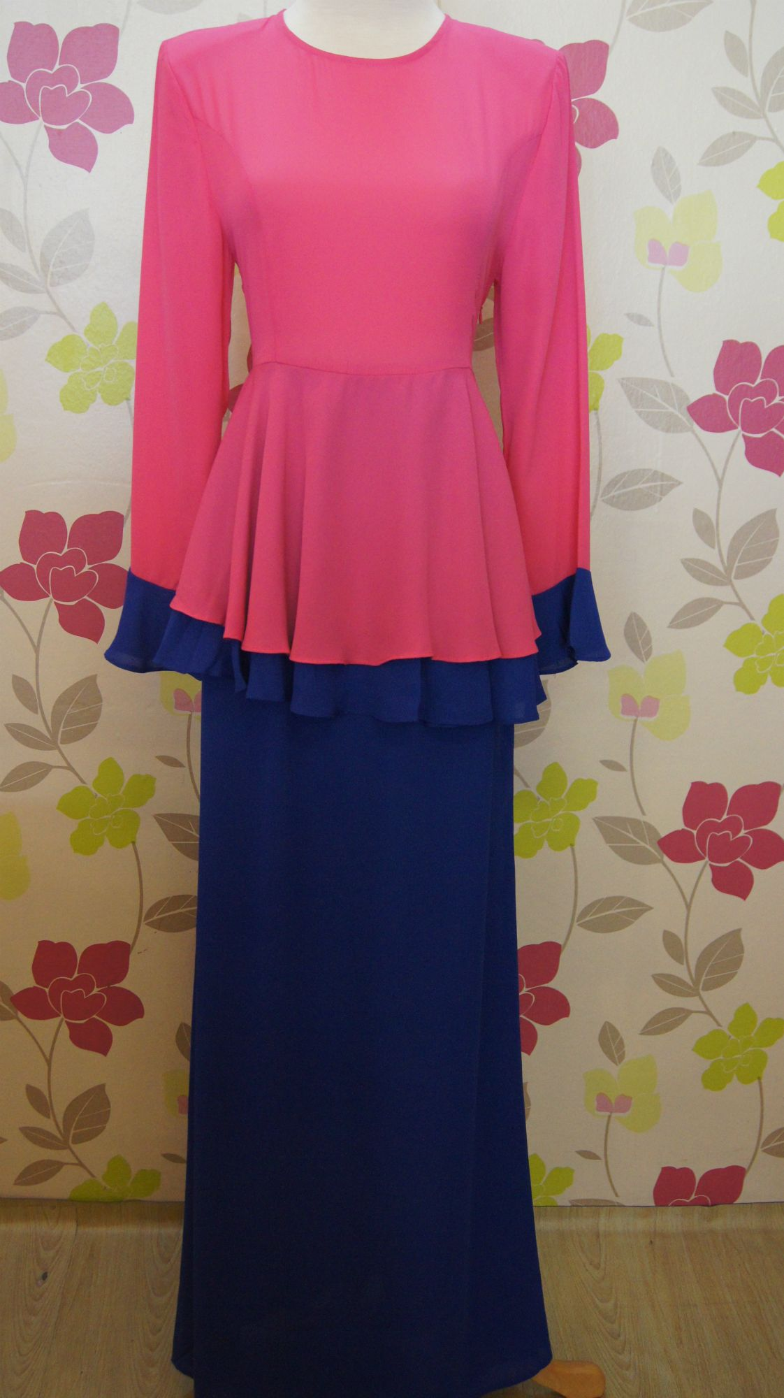 Baju Kurung Peplum Color Blocking Pink+Blue
