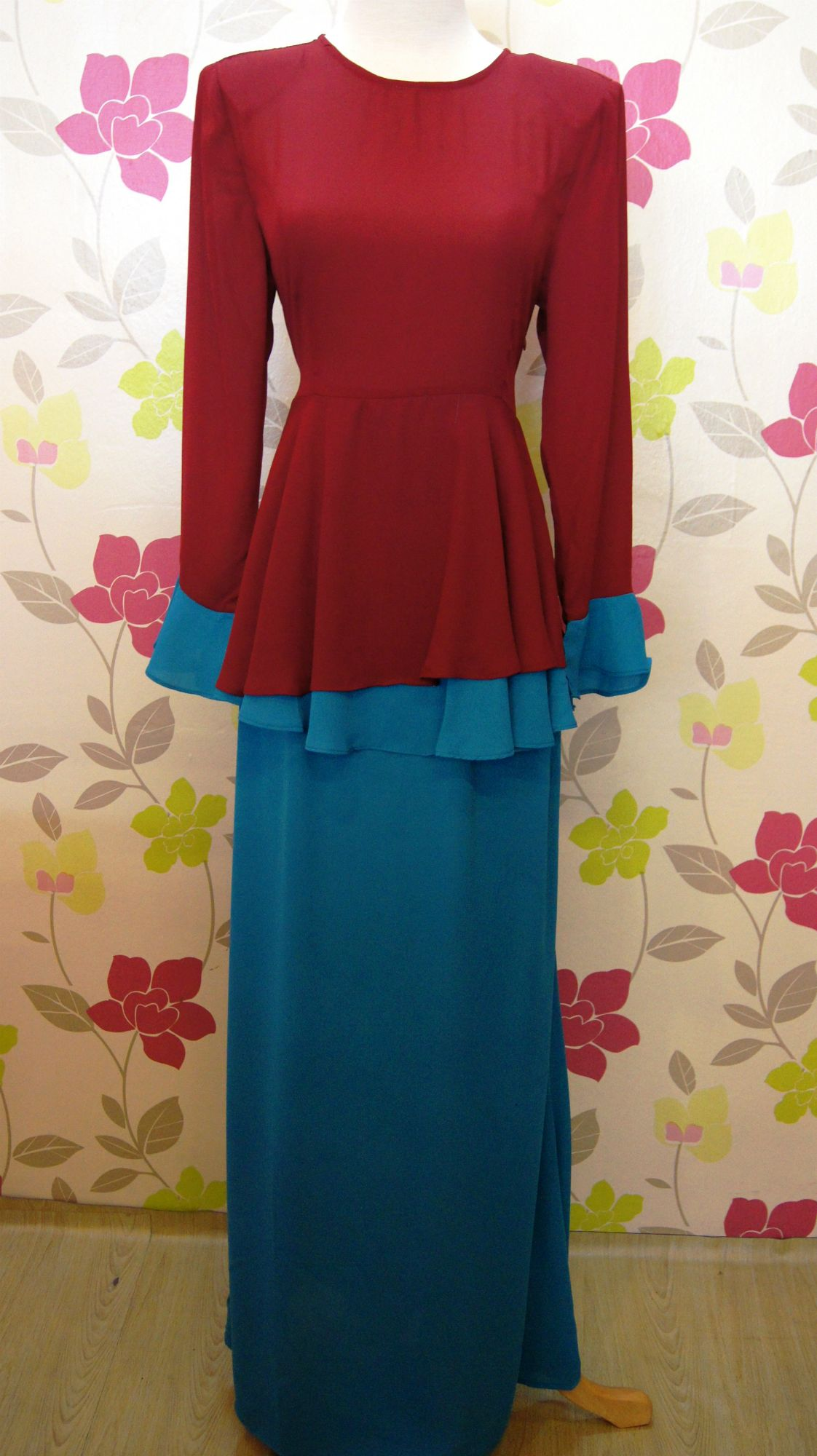Baju Kurung Peplum Color Blocking Merah hati+blue